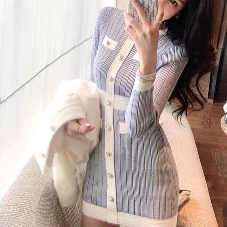 Snow blue tone knit dress(No.301970)
