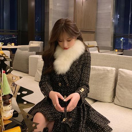 Fur tippet check tweed pleats coat dress(No.301719)【red , black】