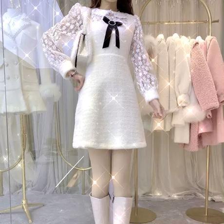 Ribbon brooch eco-fur dress(No.301946)【pink , white】
