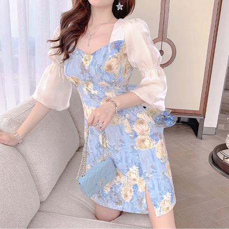 Lady flower motif slit dress(No.302154)