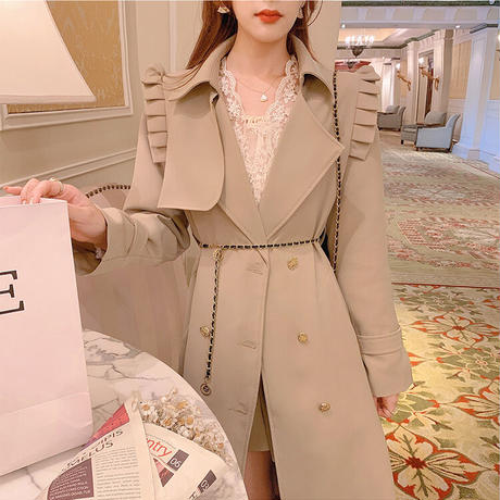 French chic double button coat(No.030920)【beige】