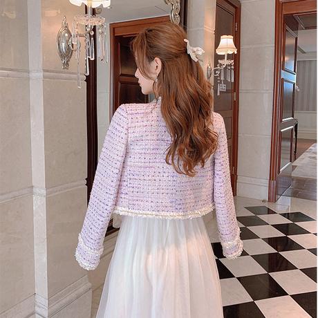 Sakura pink tweed docking tulle dress(No.030806)