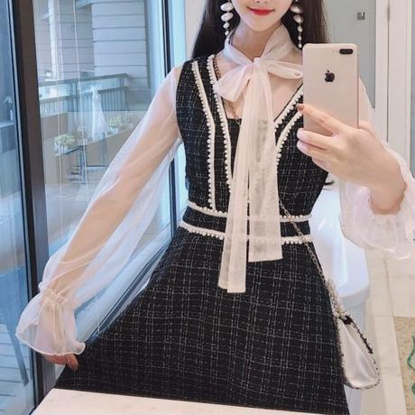 Pearl line tweed dress & blouse set(No.300782)【white , black】