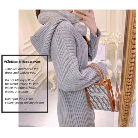 Fur tippet melty knit dress(No.301823)【pink , white , black , gray】