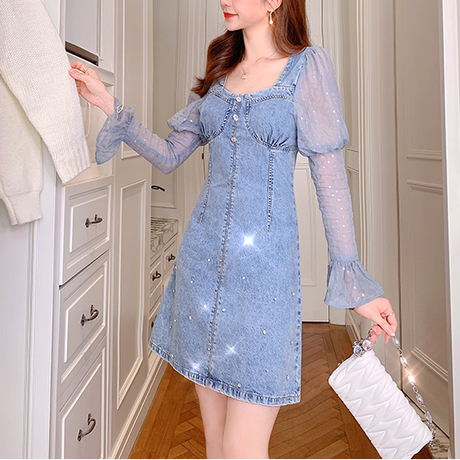 Point bijou puff sleeve denim dress(No.301583)