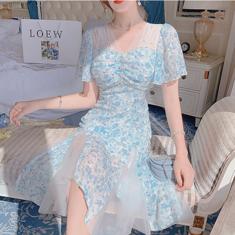 Icy flower muse line tulle dress(No.302240)