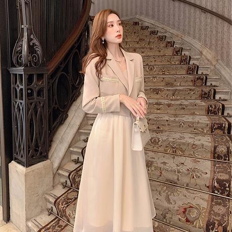 Back ribbon trench & satin long dress set(No.030819)