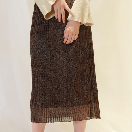 lamé pleats skirt