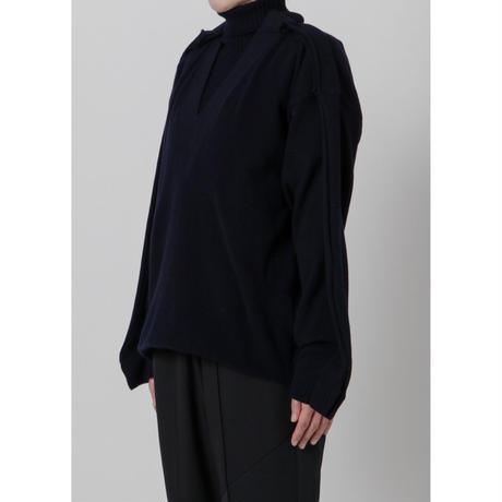 BASE MARK / Layered Turtleneck Pullover / NAVY