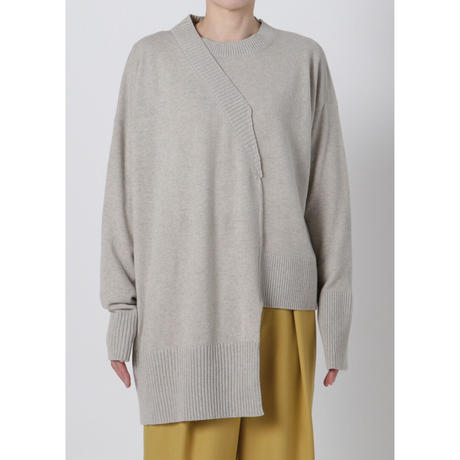 BASE MARK / Asymmetry Knit Pullover / GRAY