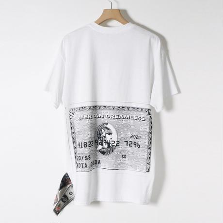 KOTAOKUDA / SHORT SLEEVE WITH BANKNOTE / AMEX / WHITE x BLACK