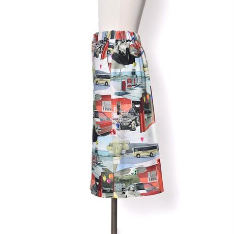 WATARU TOMINAGA / Printed Cotton Skirt / Landscape & Stones