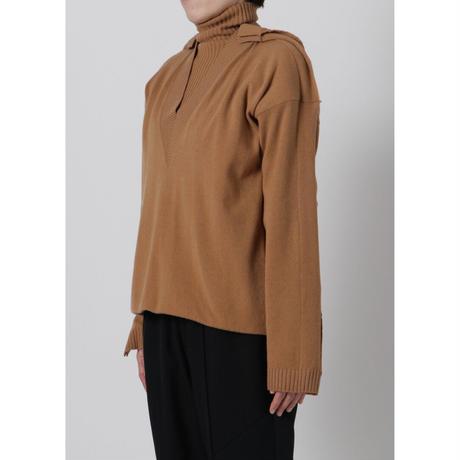 BASE MARK / Layered Turtleneck Pullover / CAMEL