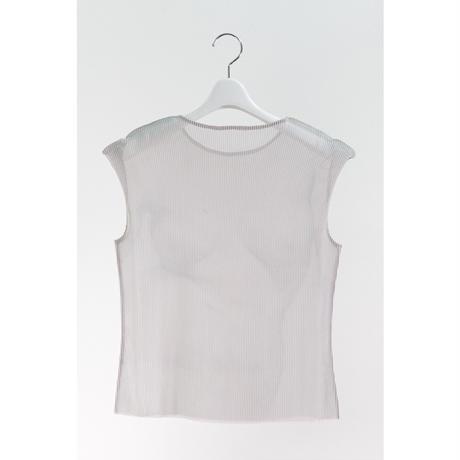 YOHEI OHNO / Cropped Body Pleats Top / White