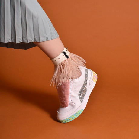 PROTCOL × BREATH BY DELTA  / Feather Anklet / White × Pink