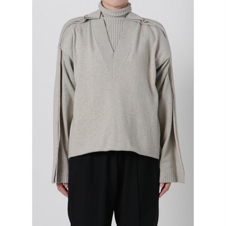 BASE MARK / Layered Turtleneck Pullover / GRAY
