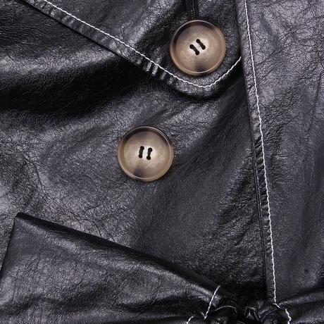 REJINA PYO / Naoko Trenchcoat / Wool Blend Leather Black