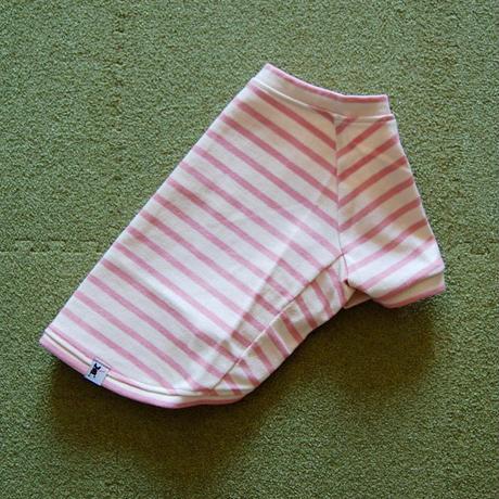 バスクボーダーシャツ(オフホワイト×ピンク)