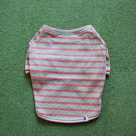 バスクボーダーシャツ(ベージュ×ピンク)