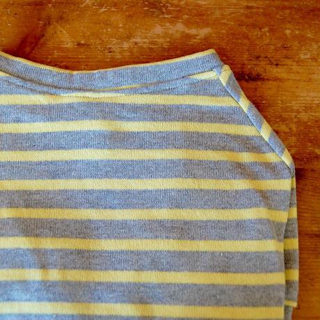 バスクボーダーシャツ(グレー×イエロー)