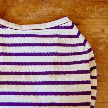 バスクボーダーシャツ(ホワイト×パープル)