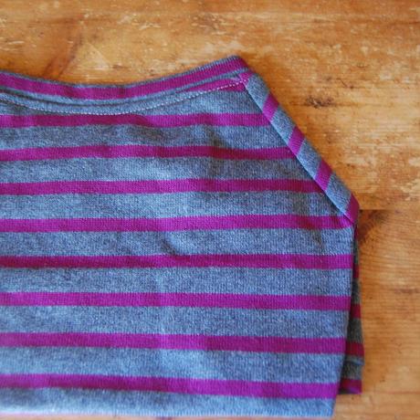バスクボーダーシャツ(杢グレー×パープル)
