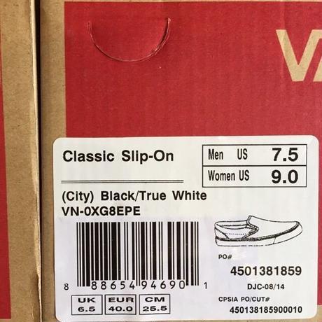 "[VANS] ""Classic Slip-On"" City -Black True White-¥(7,800-+tax)"