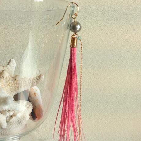 【片耳専用】コットンパール×フェザーピアス:ピンク