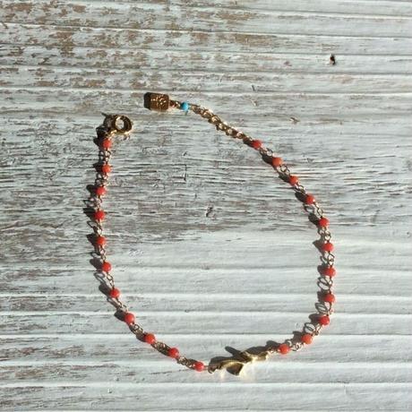 染珊瑚と珊瑚モチーフのシャンク巻きブレスレット