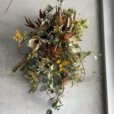 [Dry flower]大人なミモザスワッグ*初夏の爽やかなイエローグリーン仕立て