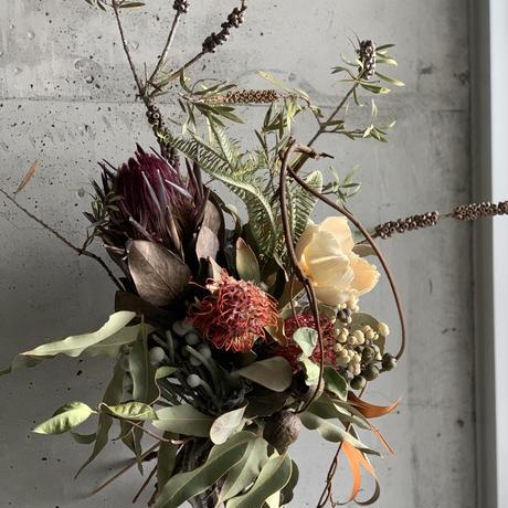 [Dry flower]プロテアとレッドピンクッションのアートブーケスワッグ