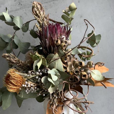 [Dry flower]プロテアとキウイのツルのブーケスワッグ