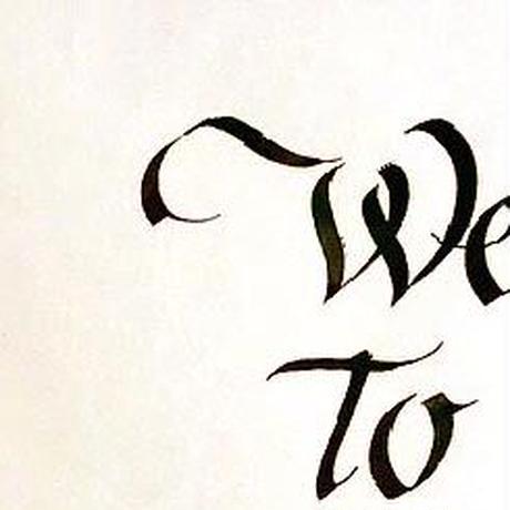 Welcome board 手書きのカリグラフィーPCS00050/PCS00051 レセプション ホワイト額