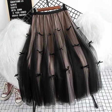 リボン付きチュールスカート