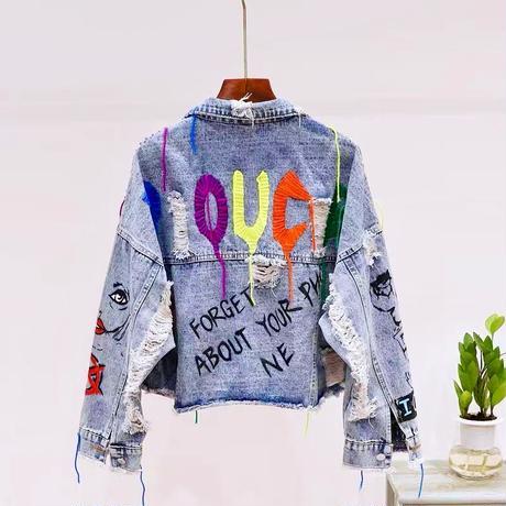 カラー刺繍デニムジャケット