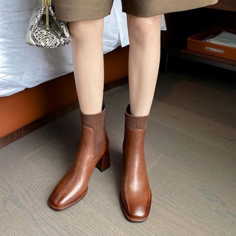 牛革 ショートブーツ