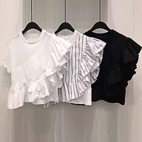 アシメントリーフリルtシャツ