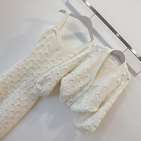 鍵編みワンピース カーディガンセット