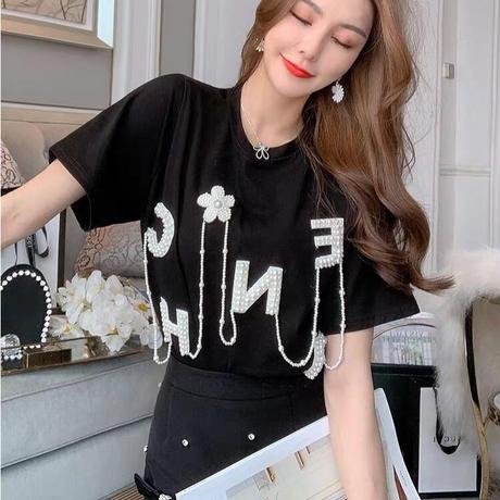 ビジューtシャツ