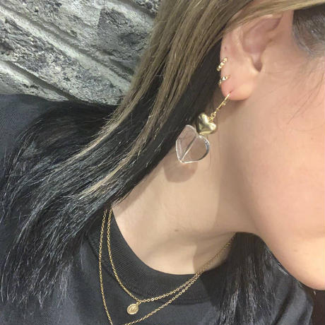 【own by Brooklyn Charm】クリア×ハートピアス GOLD(BCTCH0245_3)