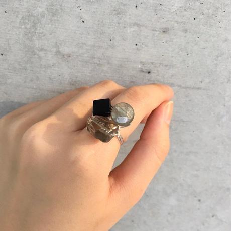 スモーキークォーツ×ラブラドライト×ブラックオニキス 3連リングSV(BCWRG0004)