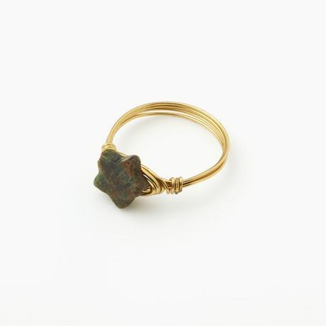 天然石ワイヤーリング インディアンアゲート(BCST0133R)