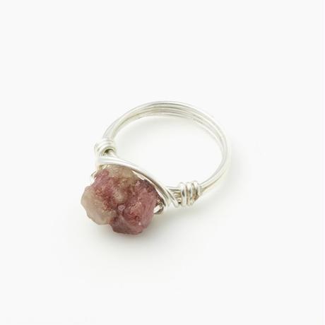 天然石ワイヤーリング レッドトルマリン(BCST0124R)