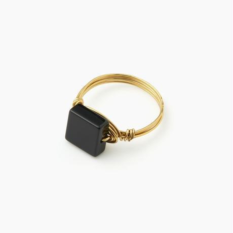 天然石ワイヤーリング ブラックオニキス(BCST0245R)