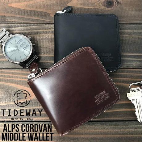 TIDEWAY タイドウェイ 本革 二つ折り財布 アルプス コードバン ミドルウォレット 財布 メンズ レディース 日本製