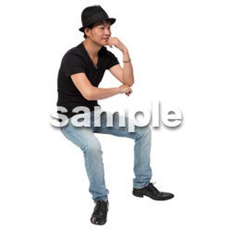 Cutout People 座る 男性 LL_483