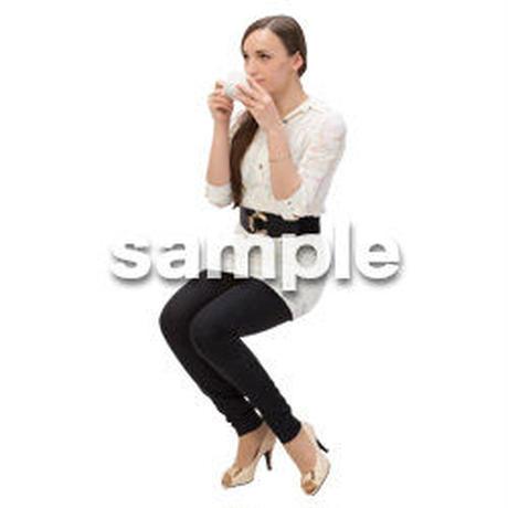 Cutout People 外国人-女性-座る BB_447