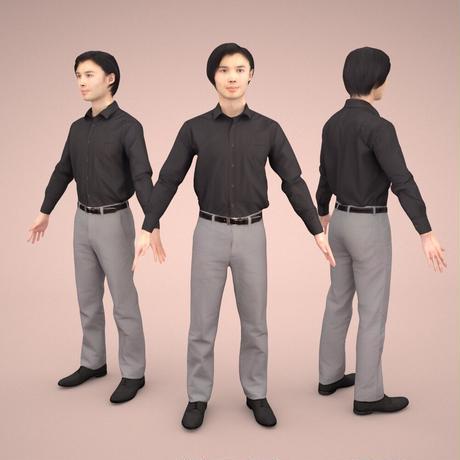 3D人モデルAポーズ 066_Syun