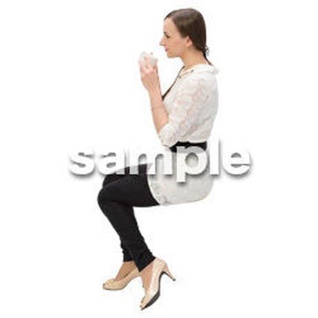 Cutout People 外国人-女性-座る BB_448