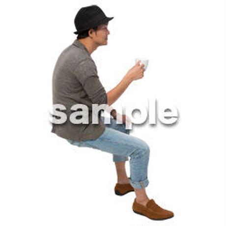 Cutout People 座る 男性 LL_329